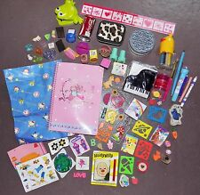 VTG 80s 90s Sanrio & Assorted Stamps Note Pads Stickers Erasers Pencils Tins
