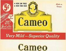 Cameo original vintage unused  cigar box label