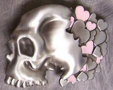 Pewter Belt Buckle novelty Skull and Hearts NEW