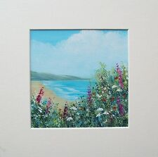 ORIGINAL SUMMER FLOWER SEA VIEW 2# with mount LANDSCAPE  PAINTING
