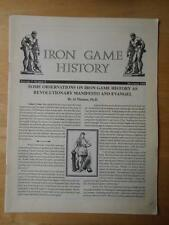 IRON GAME HISTORY bodybuilding muscle magazine booklet/HISTORY 12-94