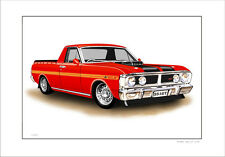 FORD  XY  351GT  UTE   SUPER  ROO   LIMITED EDITION CAR PRINT  DRAWING