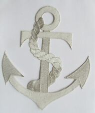 """#2333SL 8-3/4"""" Marine Nautical Silver Anchor Embroidery Applique Patch"""