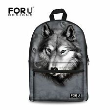 FOR U DESIGNS Grey Wolf Backpack Men Travel Shoulder Bag School Bag For Boys