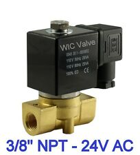 """3/8"""" Normally Closed Pneumatic Brass Air, Water Electric Solenoid Valve 24V AC"""