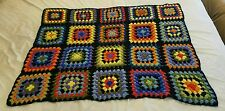 Small Handmade Multi-Color Granny Square Crochet Afghan Blanket Throw 46 x 36