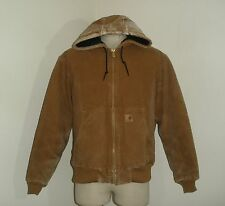 Mens CARHARTT J130 Brown QUILT lined HOODED SANDSTONE DUCK Coat Jacket Large
