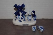 Collectible Delft Blue Windmill With Kissing Girl And Boy Plus Shoes