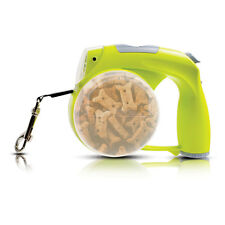6-in-1 Dog Leash WaterBowl Light WasteBag Clock TreatCompartment-Green