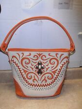 Montana West Orange Beige Crystals Rhinestones Cross Concho Big Handbag Purse
