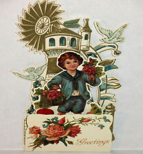 VICTORIAN BOY AT LIGHT HOUSE 3D GREETING CARD Stand up Display MINT B. Shackman