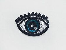 1x large sequins blue EYE Patch open eye lashes diy Iron On Embroidered Applique