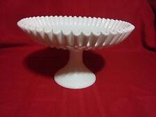 Vintage Fenton milk glass hobnail pedestal fruit bowl/ platter cake stand