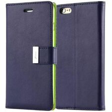 Leather Dual Card Holder Cash Wallet Book Flip Case Cover For LG Samsung Phones
