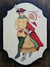 M. LAWRENCE - Vintage Folk Art Painting on Panel - Signed - Late 20th Century