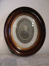 Antique Victorian Era Oval Walnut Frame w/ Old Photogtaph of Woman