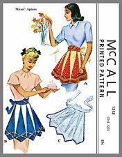 Vintage Cute McCall  Misses Apron One size Material Fabric sewing pattern # 1312