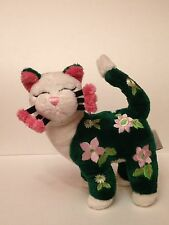 """Whimsiclay Plush Flower Cat by Amy Lacombe  9""""Stuffed Kitty Toy"""