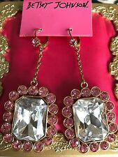 Betsey Johnson Vintage Ice Princess HUGE Clear Jewel Pink Crystal Earrings RARE