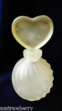 Vintage Frosted Glass Onion Round Scalloped Heart stopper Perfume Scent Bottle