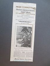 Antique BOOKMARK 1885 Calendar HARMONY Magazine of Music Prize Competition OLD