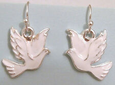 SILVER & WHITE FLYING DOVE DANGLING PIERCED EARRINGS WORLD PEACE SYMBOL BIRD
