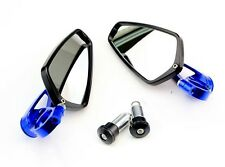Blue 7/8 Universal Motorcycle CNC Billet Aluminum Bar End Mirrors Rearview New