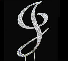 "Large Rhinestone Crystal Monogram Letter ""J""  Wedding Cake Topper  5"" inch high"