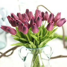 10×  Home Decor Artifical Real Touch PU Tulips Flower Single Stem Bouquet Room