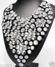 Huge chunky woman Statement crystal charm flower pendant chain necklace q1181