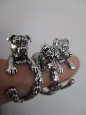 pit bull terrier dog animal wrap round ring    antique silver colour new