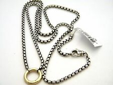 "David Yurman Sterling Silver/18k Gold 24"" Round Charm Box Chain Necklace NWT"