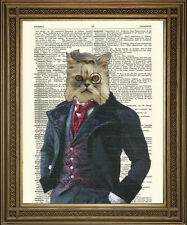 "VICTORIAN DANDY CAT PRINT: Fun, Vintage Dictionary Page Wall Decor Art (8 x 10"")"
