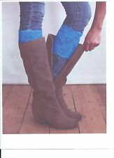Stretch Lace Boot Cuffs Leg Warmers Blue Trim Toppers Socks