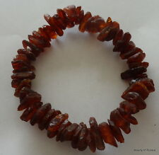 Stretch  dark brown   raw unpolished     Baltic Amber Bracelet  #10 raw