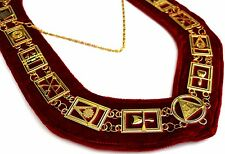 Royal Arch Chain Collar Regalia Red Velvet Masonic Jewel York Rite Officer ---