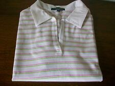 "Lyle & Scott White Cotton Golf Polo Top, Size Small, Underarm 36"" Length 22"""