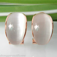 Navachi Cambered Opal Agate Oval 18K Yellow GP Buckle Earrings BH1802