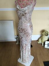 monsoon beige and gold floral Eve Silk dress size 8 vgc Seller Away 14.9-13.10