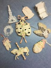 Christmas Tree Ornaments Ivory & Pastel carousel horse, slippers, sequin, masque