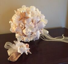 XO Bouquets Bride  Bouquet Sea Shells Bridesmaid  Beach Bouquet And Boutonniere
