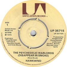 """HAWKWIND The Psychedelic Warlords 1974 UK 7"""" Vinyl Single EXCELLENT CONDITION"""