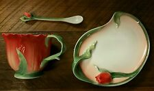 Figural Porcelain Red Tulip Shaped Tea Cup with Plate Saucer & Spoon