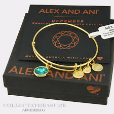 Authentic Alex and Ani December Birthstone Yellow Gold Blue Zircon Bangle