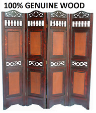 Large 4 Panel Wooden Slat Room Divider Home Privacy Screen Separator Partition