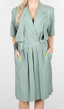 Vintage 80's (Size 12) Playsuit, Jumpsuit Green Plain (5CI)