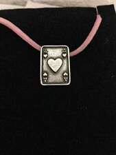 Ace Of Hearts Card R150 English Pewter Emblem on a Pink Cord Necklace Handmade