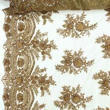 """Bronze Bridal Viburnum floral Lace Sequins Beaded Scallop Fabric Dress 52"""" BTY"""