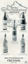 1966 Chanson French Wine Vintage Bottle  PRINT AD