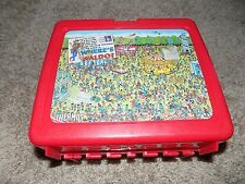 Vintage Plastic Lunch box With Thermos Red Where's Waldo?